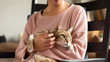 woman hold a fat tabby cat