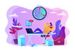 Procrastinating businessman sitting with legs on office desk postponing work. Procrastination, unprofitable time spending, useless pastime concept. Bright vibrant violet vector isolated illustration - 248667099
