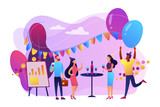 Happy tiny business people dancing, having fun and drinking wine. Corporate party, team building activity, corporate event idea concept. Bright vibrant violet vector isolated illustration - 248667088