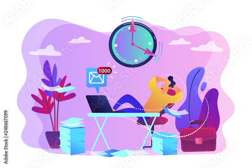 Procrastinating businessman sitting with legs on office desk postponing work. Procrastination, unprofitable time spending, useless pastime concept. Bright vibrant violet vector isolated illustration