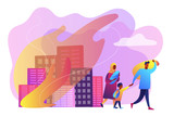 Tiny people refugee migrant family in destroyed city searching for new home. Refugees people, refugee crisis, forced displaced people concept. Bright vibrant violet vector isolated illustration - 248667637