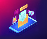 Mobile phone with megaphone and new subscription email received. Email marketing, email newsletter service, new personal message concept. Ultraviolet neon vector isometric 3D illustration. - 248668606