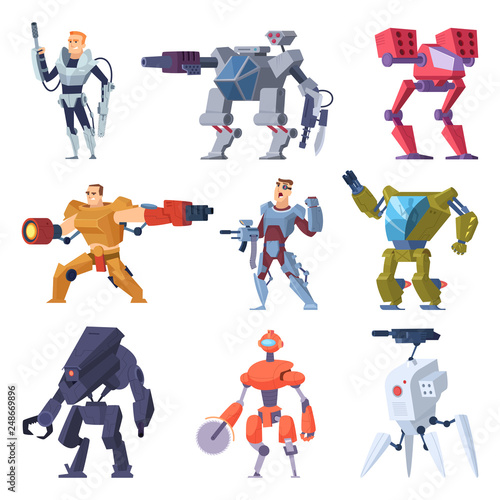 Combat robots. Armor transformers android protective electronic soldier future weapon vector characters. Illustration of robot machine, combat robotic technology © ONYXprj