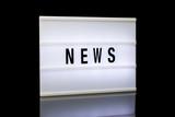 NEWS, word written on lightbox