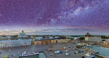 Helsinki aerial view in summer season. Starry night over city skyline - 248672614