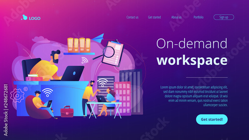 Businessmen use workspace with Wi-Fi reserved on-demand for work, meeting. On-demand workspace, dedicated meeting room, business workspace concept. Website vibrant violet landing web page template.
