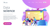 Software Engineer, Statistician, Visualizer and Analyst working on a project. Big data conference, big data presentation, data science concept. Website vibrant violet landing web page template. - 248674660