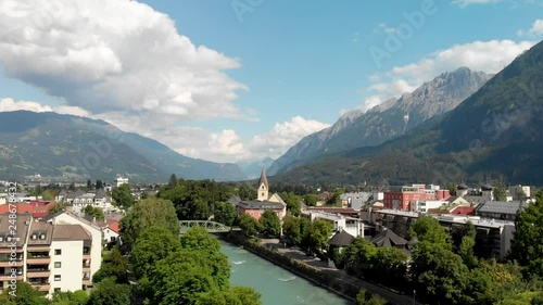 Aerial view of Lienz, Austria. Skyline and river from the sky