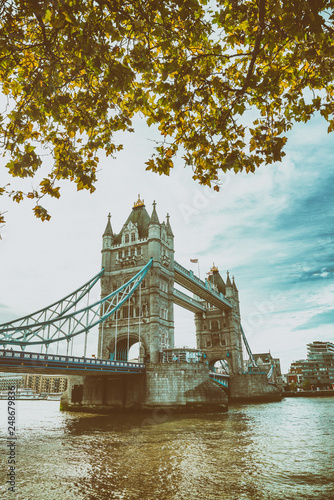 River Thames and Tower Bridge on a autumn day, London