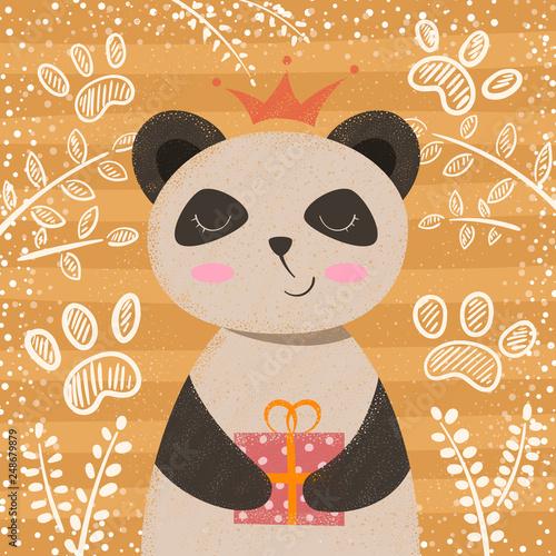 Princess cute panda - cartoon chaeacters. © HandDraw