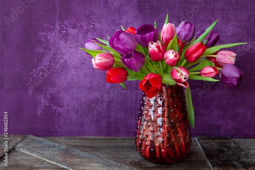 Leinwanddruck Bild Bunte Tulpen im Fruehling