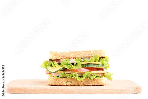 Tasty sandwich with cutting board isolated on white background