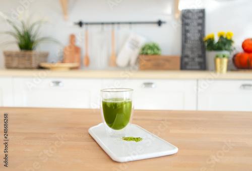 Matcha green tea in glass cup