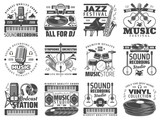 Music store, DJ sound recording studio icons