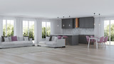 Modern home interior with gray kitchen. 3D rendering. - 248690017