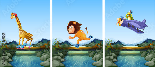Set of animals playing extreme sport in nature - 248691207