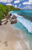 Overhead aerial view of Seychelles Beach - 248696434