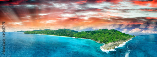 Mountains and ocean of Seychelles, aerial view - 248697475