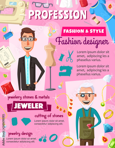 Jeweler gemstones and fashion designer professions © Vector Tradition