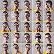 collage di espressioni di un giovane uomo