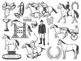 Horserace polo racing sport and hippodrome items - 248701066