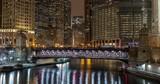 Chicago winter frozen ice river bridges downtown buildings