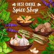 Culinary spice herbs, cooking herbal seasonings