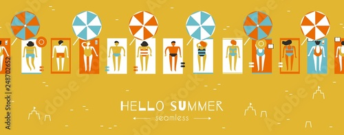 Summertime people sunbathe on the beach under parasols, seamless pattern vector - 248702652