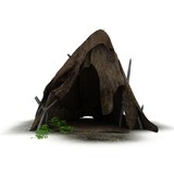 hut, ancient housing, 3d visualization, illustration