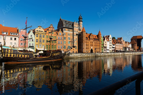 Embankment in historical part of Gdansk at sunny day, Poland