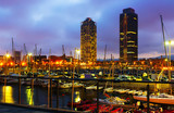Evening view of new seaside of Barcelona