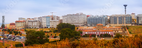 Panorama of dwelling houses at seafront in A Coruna - 248708268