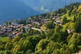 View of the mountain village Wengen in Switzerland.
