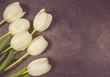 A bouquet of white tulips with a frame for inscription. - 248717447
