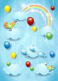 Surreal cloudscape with balloons, birds and flying fisches