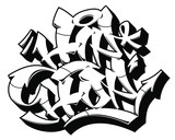 Hip-Hop word in readable graffiti style. Black outline isolated on white background. - 248719498
