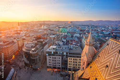 obraz lub plakat Vienna. Aerial cityscape image of Vienna capital city of Austria during sunset.