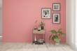 Leinwandbild Motiv Coral minimalist empty room in hight resoltion. Scandinavian interior design. 3D illustration