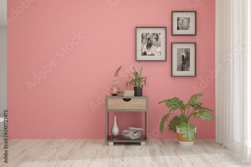 Coral minimalist empty room in hight resoltion. Scandinavian interior design. 3D illustration - 248725475