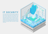 IT Security concept with symbol of shield and analytics dashboard as isometric vector illustration - 248733611