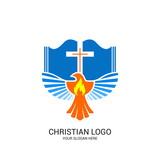 Christian church logo. Bible symbols. The open Bible, the cross of Jesus Christ and the dove.
