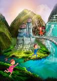 Fantasy land and happy children. Illustration for children. Background - 248749230