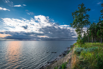 River summer landscape. The coast of Ob of the Novosibirsk reservoir. Siberia, Russia