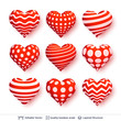 Set of 3D hearts with red and white patterns. - 248762698