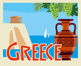 Tourist postcard Greece. Amphora on the background of the Aegean Sea. Vector graphics