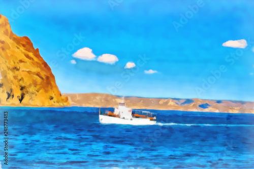 Digital painting. Drawing watercolor. Seascape, sea, ship. © svrid79
