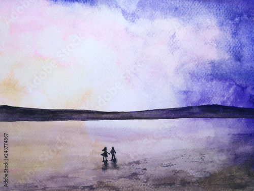 watercolor silhouette landscape  romantic sea sunset  couple in love holding hands looking the sky. © atichat