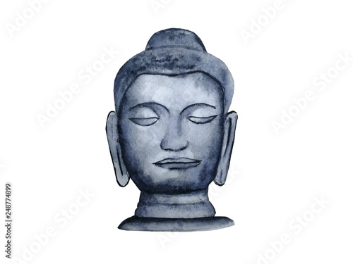 watercolor buddha head isolated white background. © atichat