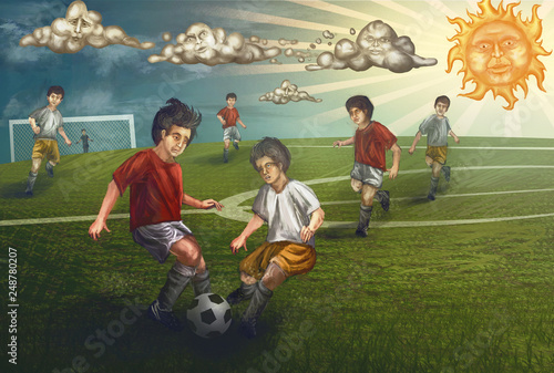 kids playing soccer on sunny day © vukkostic