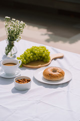 breakfast with coffee bread and fruit